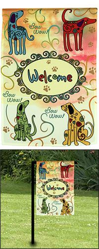 """Festival Dogs Garden Flag at The Animal Rescue Site, Flag Only- $12.95. Flag and Flag Stand- $24.95. Nylon. Weather proof. Fade & mildew resistant. Designed exclusively for The Animal Rescue Site. Flag: 18"""" H x 12.5"""" W (45.7 x 31.7 cm). Flag Stand: 36"""" H (91.4 cm)."""