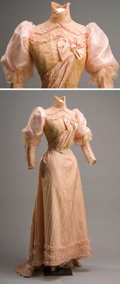Rosa Bud Dress ca. Pink chiffon and lace. Museum of Mexican History 1890s Fashion, Edwardian Fashion, Vintage Fashion, Antique Clothing, Historical Clothing, Belle Epoque, Vintage Gowns, Vintage Outfits, Edwardian Dress
