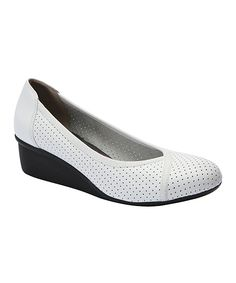 White Evelyn Leather Wedge