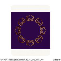 Creative wedding Summer invitation : GOLD PURPLE