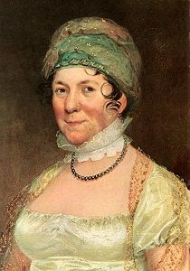 Dolley Madison in her ubiquitous turban and low-cut dress. (New York Historical Society)