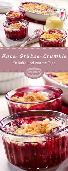 Rote-Grütze-Crumble: Fruchtiger Crumble als leckeres Dessert für kalte und warme Tage