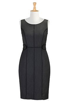 Piped trim seamed sheath dress