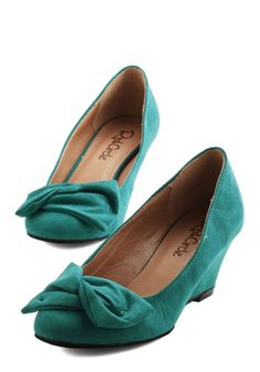 ModCloth It's a Date! Wedge in Teal