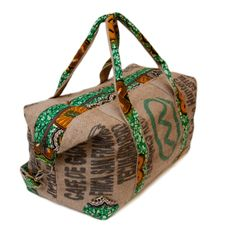 """LOOOVing this! """"Green Trim Travel bag made from an Ethiopian coffee sack lined and trimmed with African wax print cloth – just to die for. African Inspired Fashion, African Print Fashion, African Prints, Ankara Fashion, African Print Dresses, Africa Fashion, African Dress, African Textiles, African Fabric"""