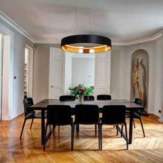 Bring some sophistication in your interiors with this suspension light. This light comes with a circular lampshade designed with fabric and PVC. Its structure is constructed from aluminum and features an LED source and an integrated driver in the ceiling Lampshade Designs, Led Pendant Lights, Ceiling Rose, Big Houses, Light Colors, Light Fixtures, Oversized Mirror, Sweet Home, Bulb