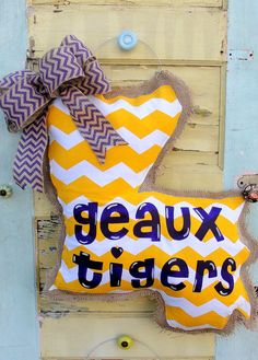LSU Burlap Door Hanger by East2Nest on Etsy, $38.00