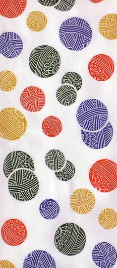 Japanese Tenugui (wash cloth) pattern of blue, orange and yellow balls. Happy to have this pattern on any wash cloth or dish towel. Pattern Dots, Doodle Pattern, Pattern Texture, Surface Pattern Design, Textile Patterns, Textile Prints, Geometric Patterns, Textile Design, Fabric Design