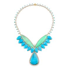 Irene Neuwirth   Jewelry--ONE OF A KIND NECKLACE WITH MINT CHRYSOPRASE, TURQUOISE, AKOYA PEARLS, AND DIAMOND PAVE
