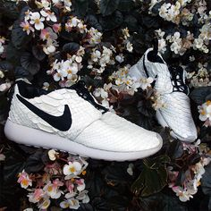 new concept a442e 42c4e Nike Roshe Runs reconstructed using genuine white python and butter-soft  Italian lambskin liners and details.