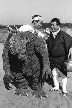 """Famous Japanese actor Haruo Nakajima relaxing between shooting in the Godzilla film. Haruo Nakajima considered to be the best suit actor"" They destroy every single one of my dreams. Godzilla is not real. Cultura Pop, King Kong, Jimi Hendrix, Michael Myers, Godzilla Suit, Godzilla Costume, Godzilla Tattoo, Original Godzilla, Original Movie"