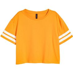 Kurzes T-Shirt 7,99 ($169) ❤ liked on Polyvore featuring tops, t-shirts, crop top, jersey tee, orange t shirt, jersey crop top, orange tee and crop t shirt
