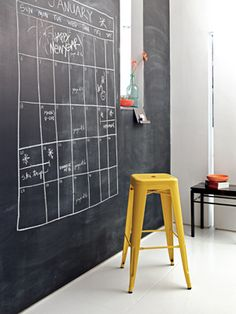 "Old-School Style Transform a drab wall into a fab (and practical) entryway. Apply a coat of magnetic chalkboard paint to the wall and draw a supersized calendar. Bonus: It can double as a fun ""to-dos"" board or a great menu space for dinner parties. Magnetic Chalkboard Paint, Chalk Wall, Chalk Board, Chalk Paint, Chalkboard Calendar, Diy Chalkboard, House Painting, Diy Painting, Painting Walls"