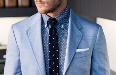 Linen Blazer + Polka Dot Chambray Shirt + Polka Dot Navy Tie | Men's Fashion