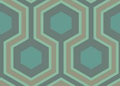Hicks Grand (95/6034) - Cole & Son Wallpapers - An interesting large scale geometric design made up of gold, green and blue hexagons with metallic highlights. More colours are available. Please order a sample for true colour match. Paste-the-wall product.