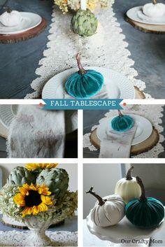 Fall Tablescape Blog Hop - Our Crafty Mom - Neutral Fall Decor - Velvet Pumpkins - White Pumpkins - Sunflowers - Fall Centerpiece