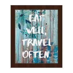 Eat Well, Travel Often Blue Framed Canvas Wall Art