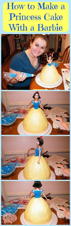 How to Make a Princess Cake With a Barbie - Such an easy DIY cake idea! Great idea for a girl's princess birthday party!