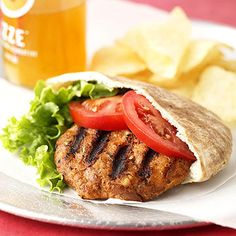 Bean Burgers  The fat-free pinto beans in this burger get a flavor boost from chili powder (shown to have cardiovascular benefits) and cumin (seeds rich in iron and known to detoxify the body).  Prep: 10 mins Grill: 10 minsor broil 10 minutes