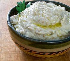 #Paleo Roasted Garlic Baba Ganoush - eggplant, tahini, garlic and lemon