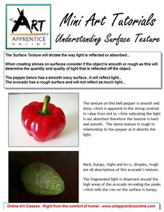 Mini Art Tutorials - Understanding Surface Texture from Art Apprentice Online www.artapprenticeonline.com #Learn Painting #learn to paint #art theory, #online painting lessons