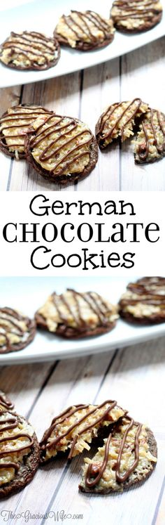 German Chocolate Cookies Recipe - A decadent dessert recipe with lots of chocolate and a coconut pecan frosting. A yummy addition to your Christmas cookies exchange too! So good!