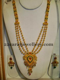 tripple step gundla haram from srimahalaxmi jewellers Gold Mangalsutra Designs, Gold Earrings Designs, Gold Jewellery Design, Necklace Designs, Gold Jewelry Simple, Jewelry Model, Indian Jewelry, Wedding Jewelry, Fashion Jewelry