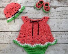 Wassermelone Infant Kleid häkeln Baby von CreativeDesignsbyAmi