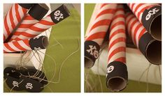 Save my Christmas wrapping paper rolls to make spy glasses ...and pick up striped Christmas paper on sale!!