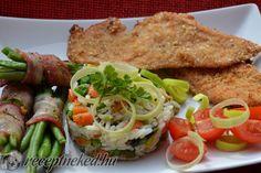 Baconben sült ceruzabab és rizibizi Bacon, Chicken, Ethnic Recipes, Food, Essen, Meals, Yemek, Pork Belly, Eten
