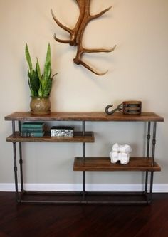 Industrial Console // Reclaimed Wood & Steel Pipe // Rustic Sideboard. $595.00, via Etsy.  Foyer inspiration
