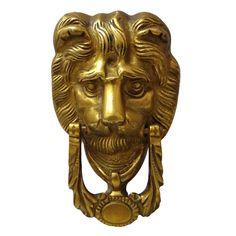 Decorative Door Knocker / Handle Lion Face Engraved Brass Metal Figurine  India