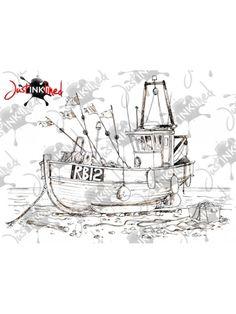 Digital Stamp Fishing Boat