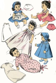 Vintage Doll Clothes PATTERN 8454 for 8.5 inch Betsy Wetsy Suzy doll by Ideal