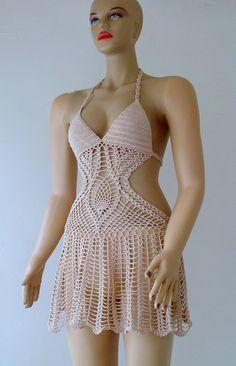 Salmon Color Crochet Beach Accessories, Women Swimwear, Beach Wear. 2015 Summer Trends. !!! FORMALHOUSE