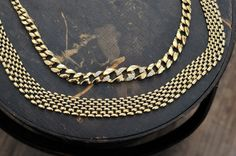 Vintage Napier Gold Tone Choker / Necklace / Patented along with Gold Tone Rhinestone Choker