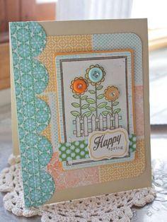 Happy Spring Button Flower Card