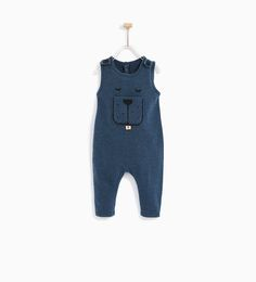 Image 1 of DUNGAREES WITH DOG PRINT ON POCKET from Zara
