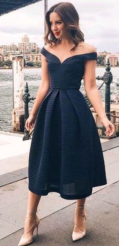 #summer #girly #outfitideas |  Off The Shoulder Midi Black Dress