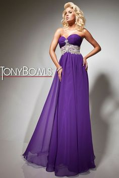 Chiffon strapless prom dress with ruched bust, beaded waistband and gathered skirt, by Tony Bowls Paris