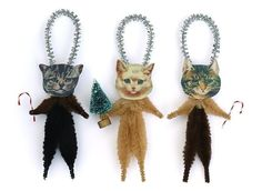 Christmas Cats Holiday Ornaments - Chenille Christmas Animal Ornaments. $12.00, via Etsy.