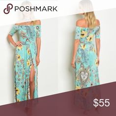 🎀COMING SOON🎀Floral Off the Shoulder Maxi Dress Made in the USA Fabric Content: 95% POLYESTER 5% SPANDEX boutique Dresses Maxi