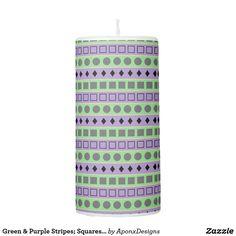 Green & Purple Stripes; Squares, Diamonds, Circles