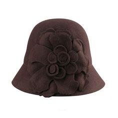 Winter flower cloche hat for women wool trilby bowler hats