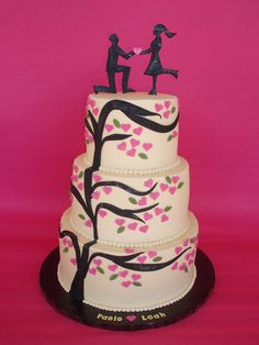 Modern Love Engagement Cake