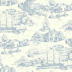 Interior Place   White Greyish Blue AT4137 Scenic Nautical Toile Wallpaper,  23.23 U20ac (http