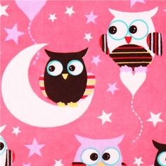 pink night owl minky fabric fleece plush USA