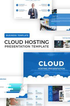 Cloud Hosting Presentation PowerPoint Template - Blue and White Color Theme Presentation Software, Business Presentation, Slide Design, Web Design, Design Ideas, Design Inspiration, Blue Website, Cloud Template, Free Cloud