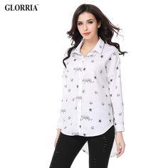 Women Elegant Star Print Long Sleeve Irregular Hem Blouses Spring Casual Fashion Wear to Work White Shirts