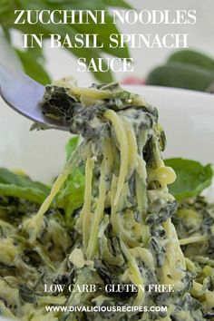 Zucchini noodles cooked in a creamy basil spinach sauce makes a quick dish in under 30 minutes. A dish of green goodness in a bowl.